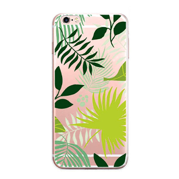 iPhone 7 Case -Tropical Style iPhone7 Protective Cover (Palm Plant Cactus Island Beach Nature Relax)