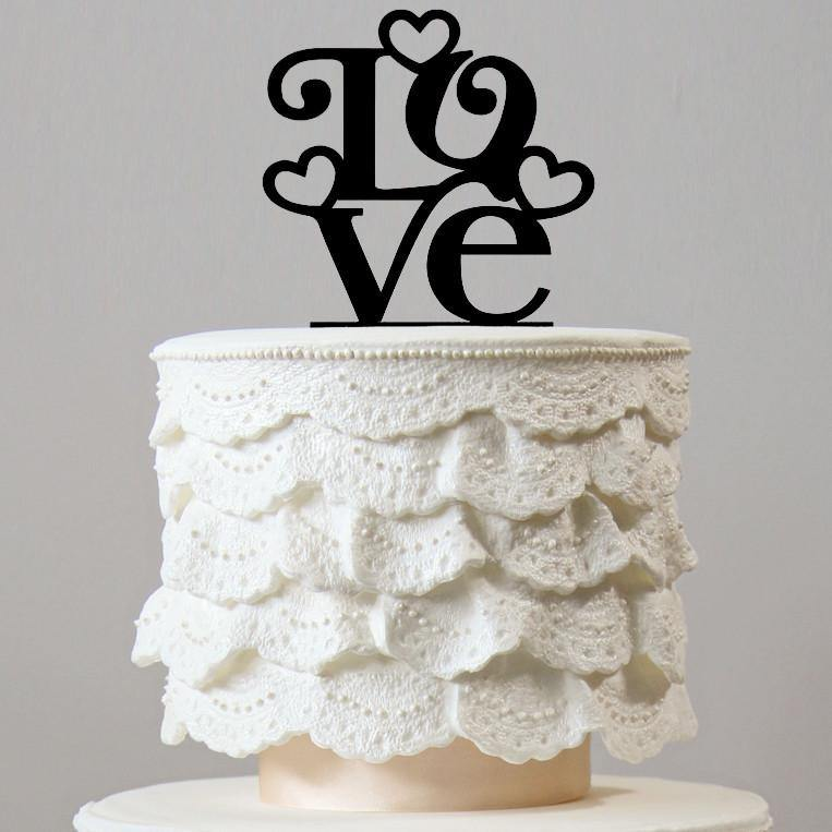 Love Cake Topper for Wedding Anniversary Engagement Bridal Shower Party - CHARMERRY