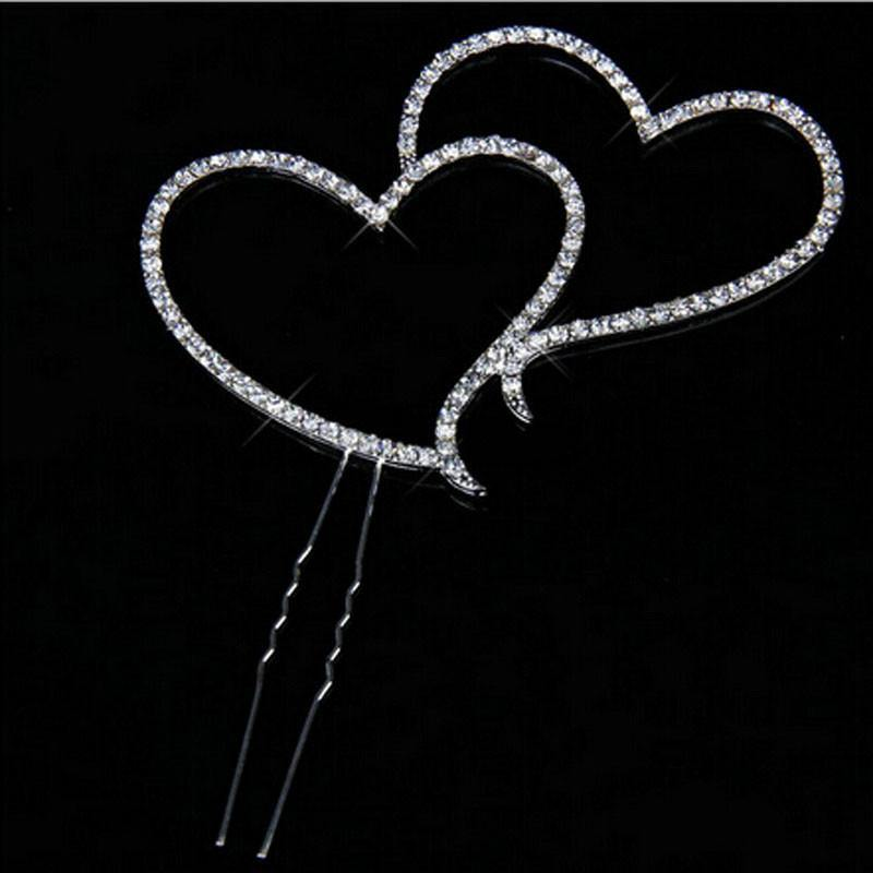 Double Heart Crystal Cake Topper -Sparkling Rhinestone Cake Decoration - CHARMERRY