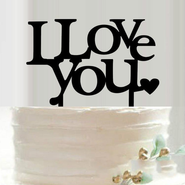 Cake Topper for Wedding Anniversary Engagement Valentine (I Love You)