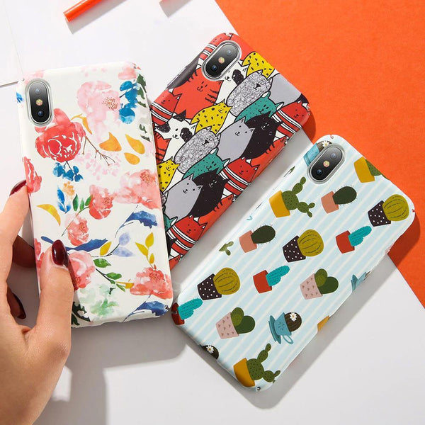 iphone cases protective fashion phone covers x 8 plus 7 6s 6 cartoon colorful art cat flower cactus pattern mix match casual outfit style mobile shell protector charmerry a1