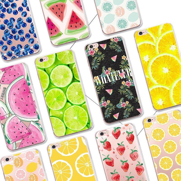 iphone cases protective phone covers x 8 plus 7 6s 6 5 5s se lemon lime summer colorful fruits yellow green color art pattern fresh spring simple chic mobile shell protector transparent unobtrusive fashion charmerry a1