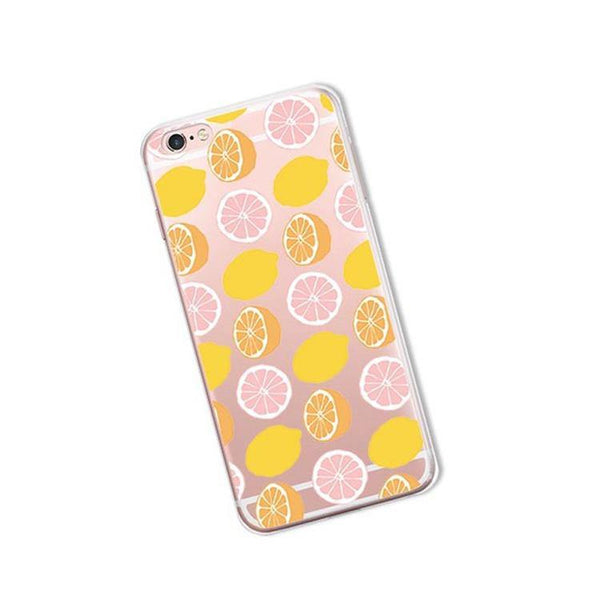 iphone cases protective phone covers x 8 plus 7 6s 6 5 5s se lemon lime summer colorful fruits yellow green color art pattern fresh spring simple chic mobile shell protector transparent unobtrusive fashion charmerry a5