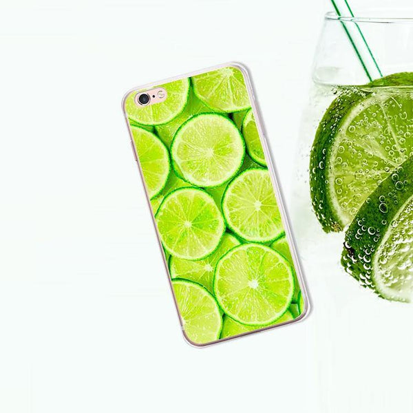 iphone cases protective phone covers x 8 plus 7 6s 6 5 5s se lemon lime summer colorful fruits yellow green color art pattern fresh spring simple chic mobile shell protector transparent unobtrusive fashion charmerry a3