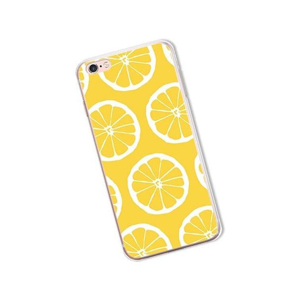 iphone cases protective phone covers x 8 plus 7 6s 6 5 5s se lemon lime summer colorful fruits yellow green color art pattern fresh spring simple chic mobile shell protector transparent unobtrusive fashion charmerry a6