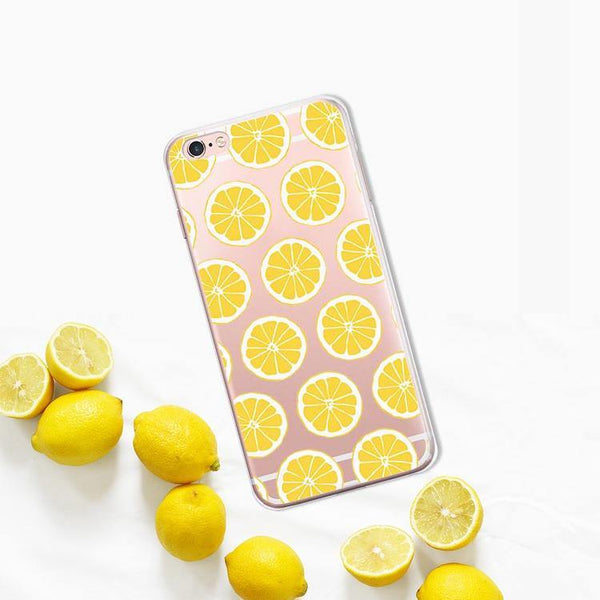 iphone cases protective phone covers x 8 plus 7 6s 6 5 5s se lemon lime summer colorful fruits yellow green color art pattern fresh spring simple chic mobile shell protector transparent unobtrusive fashion charmerry a2