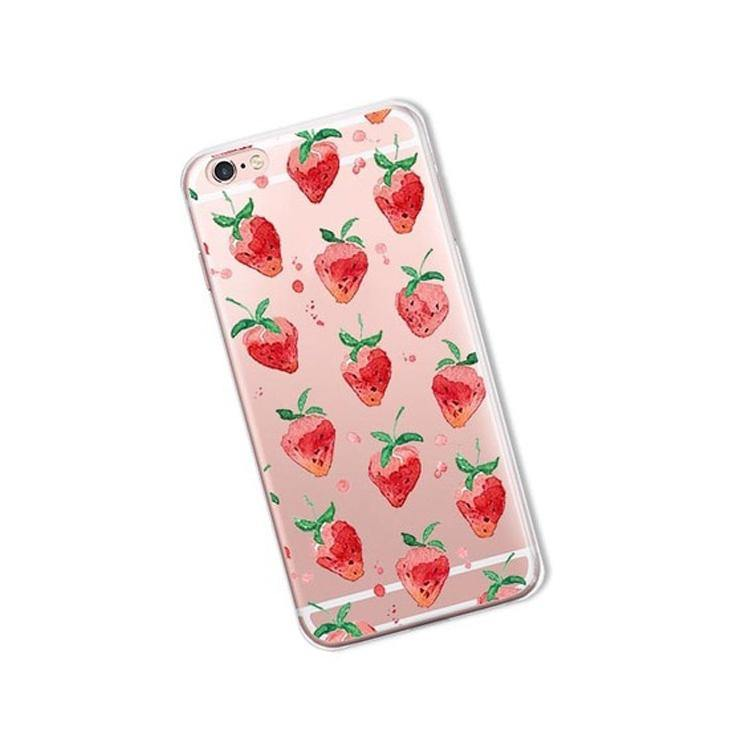 iphone cases protective phone covers x 8 plus 7 6s 6 5 5s se strawberry pink chic fashion red art pattern simple mobile shell protector transparent clear mix match outfit style charmerry 1