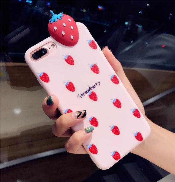iphone cases protective phone covers x 8 plus 7 6s 6 strawberry fruits pink chic fashion street style mix match casual outfit mobile color shell protector charmerry a1