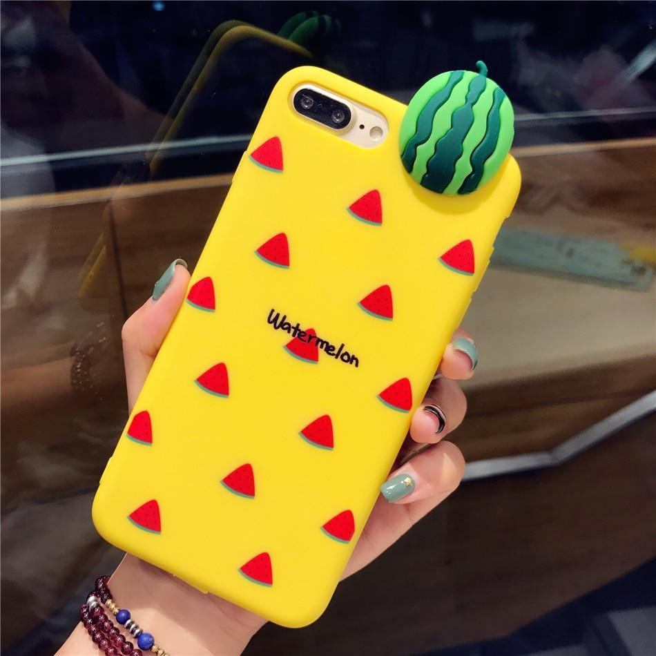 iphone cases protective phone covers x 8 plus 7 6s 6 watermelon summer beach party fruits yellow mobile bright color shell protector mix match outfit style charmerry a1