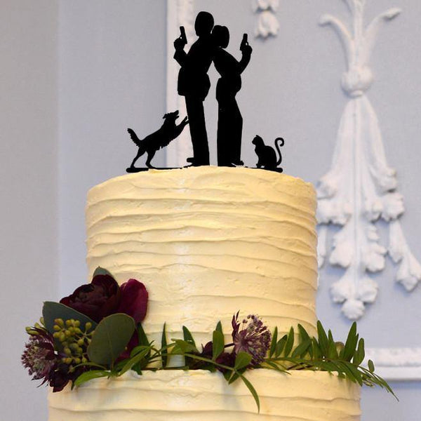 Wedding Cake Topper (Creative Funny Humorous /Secret Agent /Dog &Cat) [Couple Holding Guns w/ Pets]