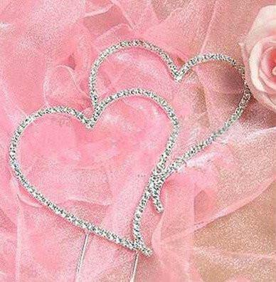 Cake Topper Double Heart Crystal Cake Topper -Sparkling Rhinestone Cake Decoration - Charmerry