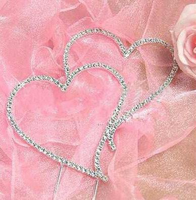Cake Topper Rhinestone Crystal Cake Topper (Faux Diamond /Love /Double Heart to Heart) Set of 10 - Charmerry