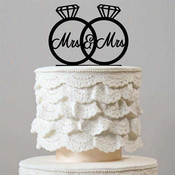 Lesbian Mrs Mrs Wedding Cake Topper (Homosexual Love /Same-Sex Marriage) [Diamond Ring Decoration]