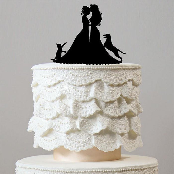 Wedding Cake Toppers 1 Dog & 1 Cat /Family Pets (Homosexual /Same-Sex Marriage)