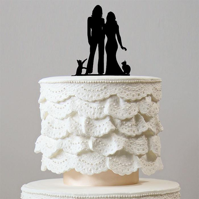 Lesbian Wedding Cake Toppers 2 Cats Family Pets Homosexual Same