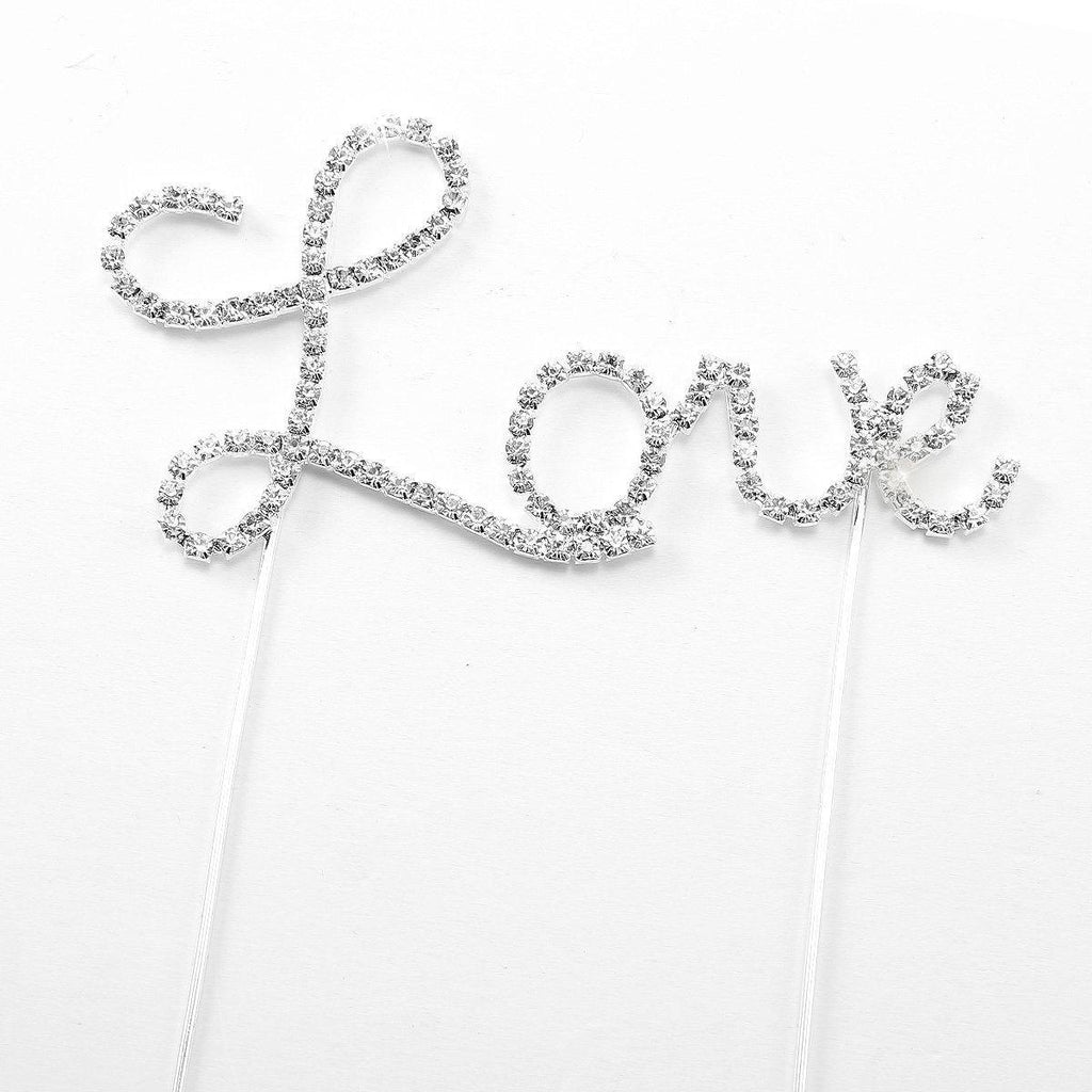 Crystal Weeding Cake Topper /Rhinestone Anniversary Cake Decoration (Love)