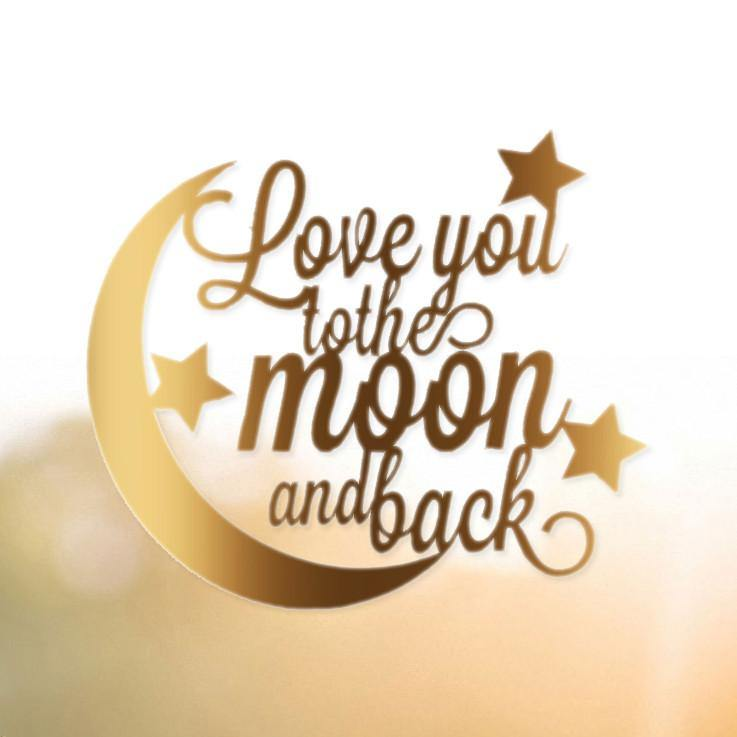 Romantic Anniversary /Engagement /Wedding Cake Topper (Love you to the moon and back)