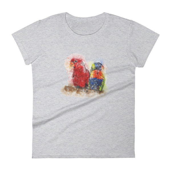 Parrots T-Shirts (Watercolor Birds) [Simple White Designer Women Tees]