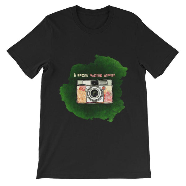 Camera Photography T-Shirt (Simple, Designer Casual Tees) [I Shoot Pretty Things /Unisex: Men Women]