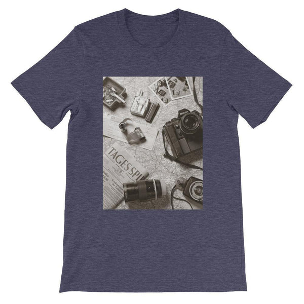 Explorer Photographer T-Shirt (Short Sleeve /Outdoors Vintage /Camera) [Unisex for Men & Women]
