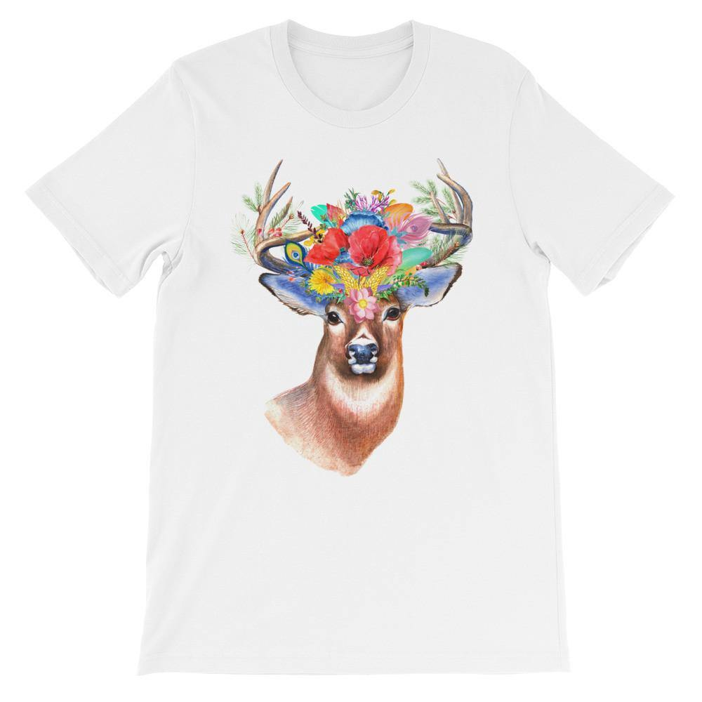 Deer /Floral Reindeer T-Shirt (Designer Graphic &Printed Tees) [Unisex: Men Women]