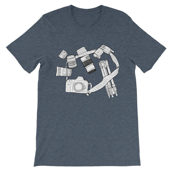 Camera Gear T-Shirt (Photography Equipment /Simple, Designer Casual Tees) [Unisex: Men Women]