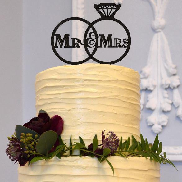 Mr Mrs Cake Topper (Wedding /Engagement Diamond Rings /Simple &Elegant) - CHARMERRY