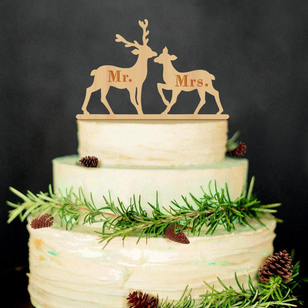 Mr Mrs Wedding Cake Topper (Wood /Deer Moose /Rustic Vintage Christmas) - CHARMERRY