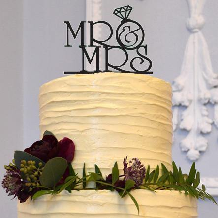 Mr & Mrs Wedding Cake Toppers (Diamond Ring /Engagement /Anniversary ...