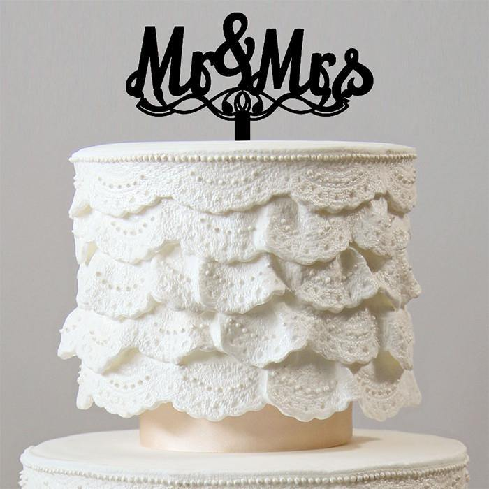 Mr & Mrs Wedding Cake Toppers - CHARMERRY