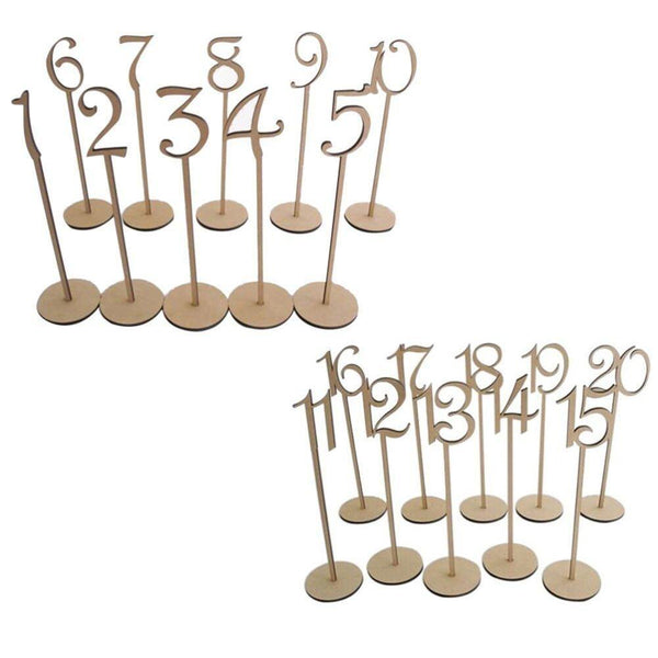 Table Number Wood Stand (Set of 10 / Set of 20)