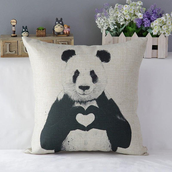 Panda Pillow Case (Accent Cushion Covers /Decorative Throw Pillowcases)[Love Sign /Heart Symbol]
