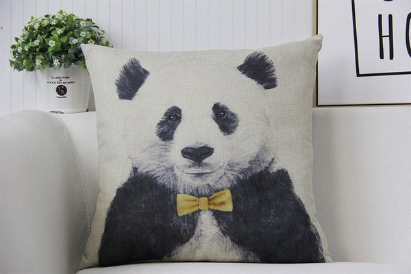 Panda Pillow Case (Accent Cushion Covers /Decorative Throw Pillowcases)[Bow Tie]