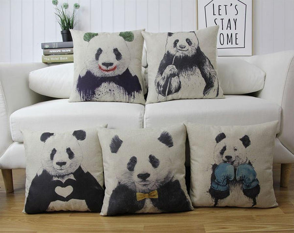 Panda Pillow Case (Accent Cushion Covers /Decorative Throw Pillowcases)[Bamboo]