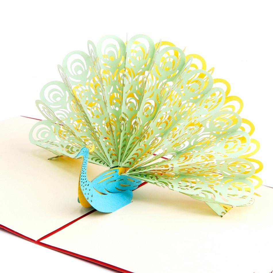 Peacock Greeting Card 3d Pop Up Invitation Gorgeous Peafowl
