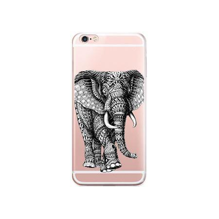 free shipping d5d91 a60bc iPhone 7 Case -Elephant Art Design iPhone7 Phone Cover [Transparent /Slim  Scratch Drop Protection]