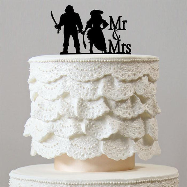 Pirate Wedding Cake Topper (Mr Mrs /Hook Cosplay Theme /Funny Humorous)
