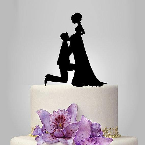 Wedding Cake Topper (Pregnant Bride Groom Expecting Baby /Couple Pregnancy)