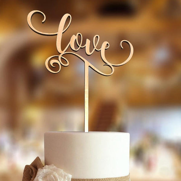 Rustic Cake Topper (Handwritten Love)