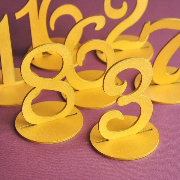Table Numbers for Wedding Party Decorations ( Vintage /Romantic Rustic Theme) [1 to 10 /Gold]