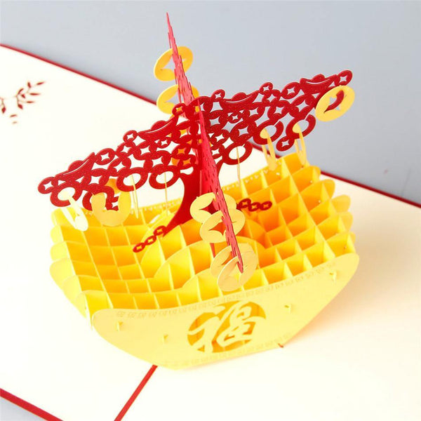 Chinese Greeting Card -Lucky 3D Pop Up Papercraft Gift (New Year Holiday /Money Treasure /Good Luck)