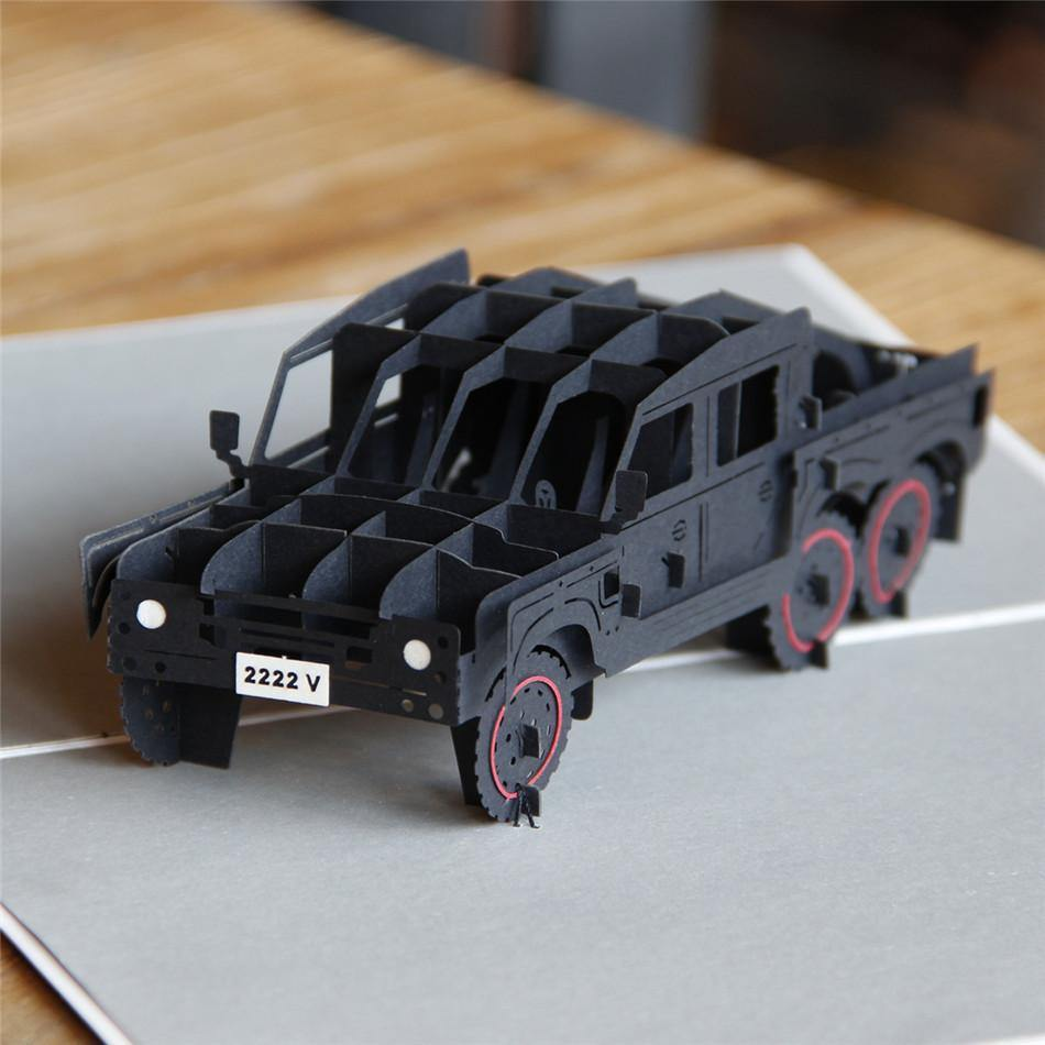 Car Greeting Card /Invitation (3D Pop Up Papercraft) [Six Wheels 6X6 Jeep SUV ATV]