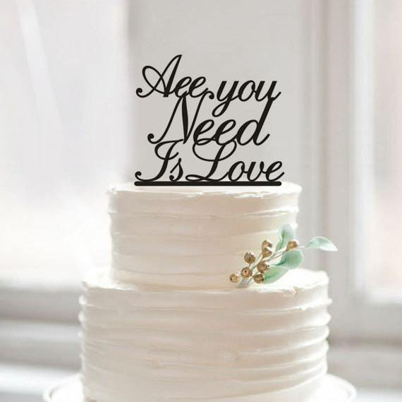 Romantic Cake Topper for Wedding Anniversary Engagement (Simple & Elegant) [All You Need Is Love]