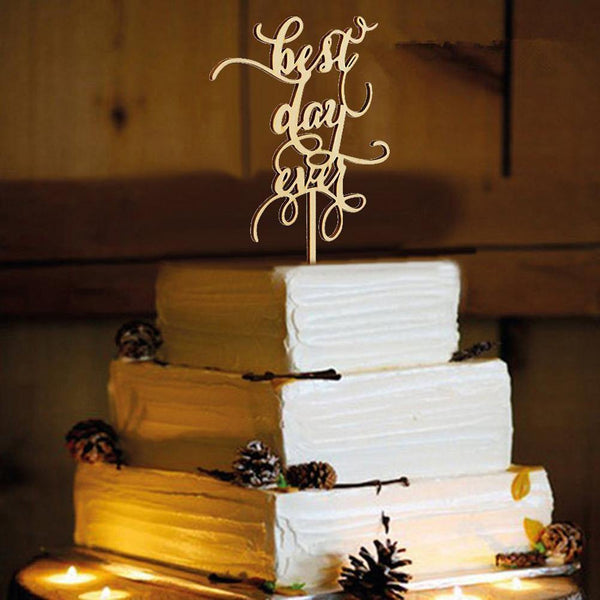 Cake Topper for Wedding Anniversary Engagement (Love Message /Wood)