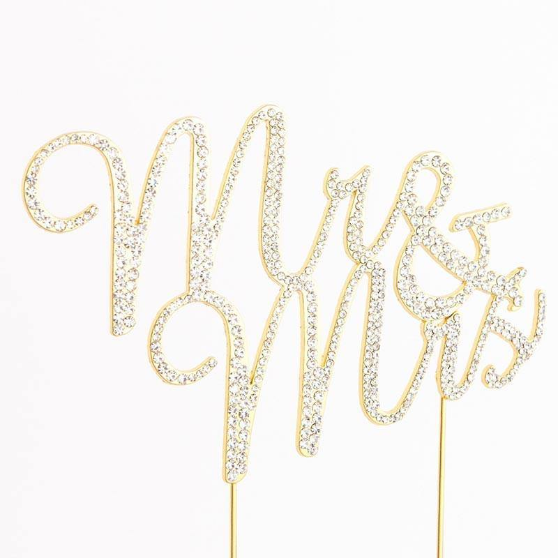 Mr Mrs Rhinestone Crystal Cake Topper for Wedding, Engagement, Anniversary &Bridal Shower Decoration