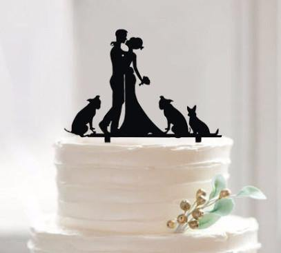 Romantic Cake Topper for Wedding Anniversary Engagement (Dog Pet Puppy) [Embrace /Hug & Kiss]