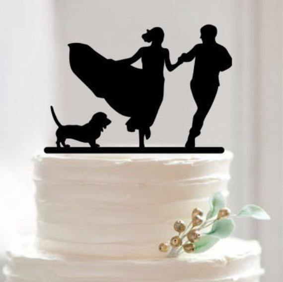 Cake Topper for Wedding Anniversary Engagement (Dog Pet Puppy) [Romantic Groom & Bride Running]