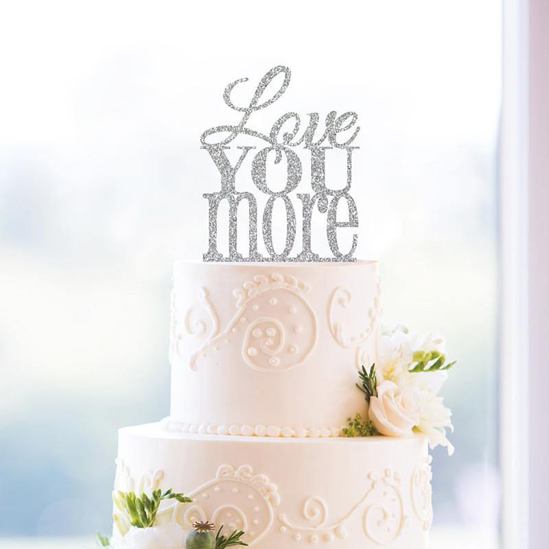 Romantic Cake Topper for Wedding Anniversary Engagement Valentine (Love You More) [Gold Silver Wood]