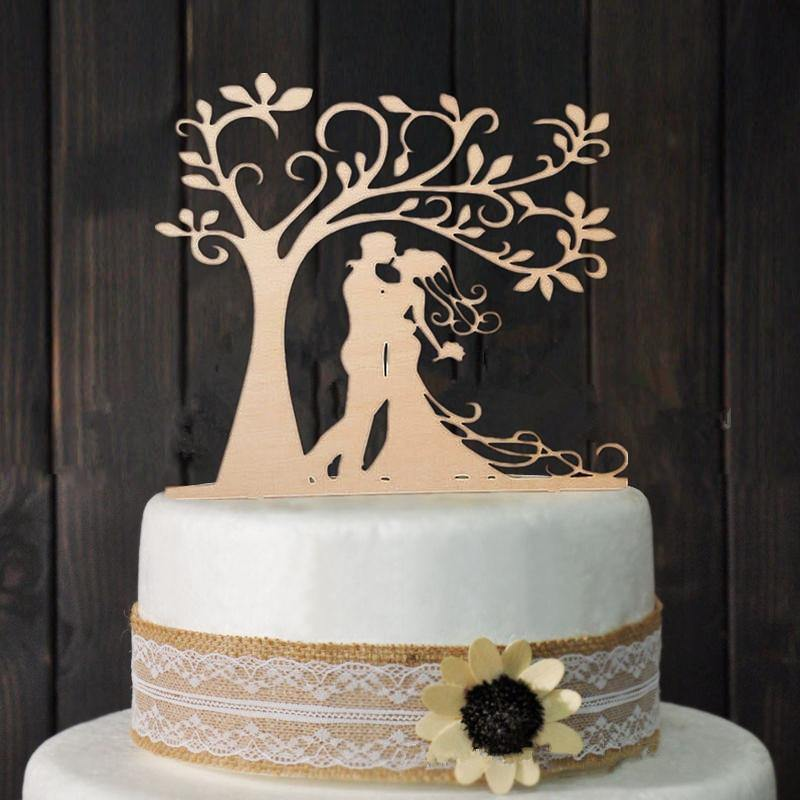 Romantic Rustic Wedding Wood Cake Topper (Bride Groom Kissing under Love Tree) [Vintage Engagement] - CHARMERRY