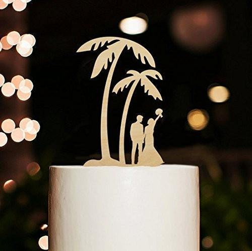 Wedding Cake Topper (Coconut Palm Tree /Island Tropical Beach /Holiday Honeymoon Hawaii) Rustic Wood
